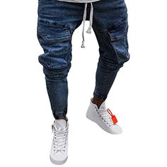 d477b70902023a Dasongff Hose Herren Jeans Groß Größe Freizeithosen Männer Hosen Slim Fit  Distressed Jeans-Hose Trekkinghose Casual Trainingshose Sporthosen Vintage  ...
