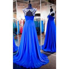 Royal Blue Scoop Neck Chiffon Tulle Sweep Train Beading Online Prom...  ($189) ❤ liked on Polyvore featuring dresses, blue cocktail dress, beaded  prom ...