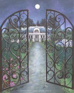 iron gate wrought romantic fantasy gothic moonlight landscape fine gates garden bedroom