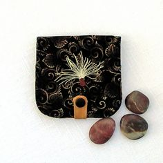 Small fabric Fabric Wallet with embroidered by seablossomdesign,