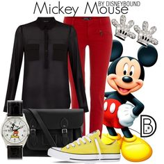 Mickey Mouse by leslieakay on Polyvore featuring Polo Ralph Lauren, Converse, The Cambridge Satchel Company and Disney