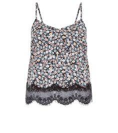 Black Floral Print Lace Hem Cami    New Look