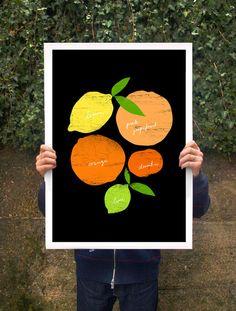 "Citrus Love Black Poster print 20""x27"""