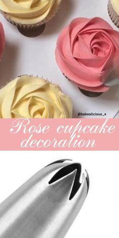 Rose cupcake decoration idea - Cupcake decoration techniques - Use piping nozzle for beautiful cupcake decoration - Cake Decorating Frosting, Creative Cake Decorating, Cake Decorating For Beginners, Cake Decorating Videos, Cake Decorating Techniques, Creative Cakes, Cookie Decorating, Cupcake Decoration, Deco Cupcake