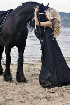black Horse and black dress, beautiful