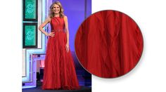 """ADRIANNA PAPELL Red gown w/satin bodice, sleeveless, high scoop neckline, silver & red rhinestone """"belt"""" at waist, skirt in vertical rows of mesh, full skirt 