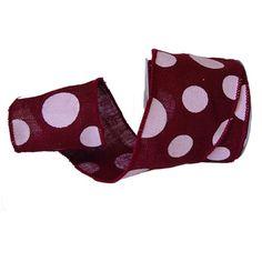 "Burlap Polka Dot Ribbon Size: 4"" in width; 10 yards in length Material: 100% Jute Color: Burgundy Wire Edge"