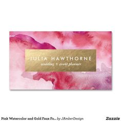 Pink Watercolor and Gold Faux Foil Business Card #businesscardmaker
