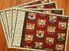 Quilted Placemats Bistro Chefs in Red Black and by susiquilts