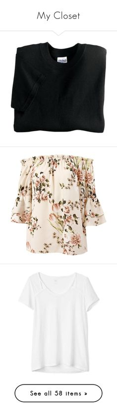 """""""My Closet"""" by apprehensivity on Polyvore featuring tops, blouses, peach, floral-print blouses, pink blouse, bell sleeve tops, off-the-shoulder blouses, pink floral blouse, t-shirts and shirts"""