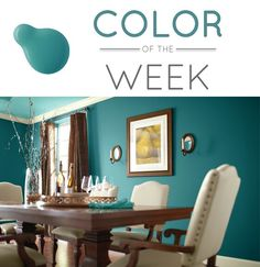 "Behr paint in ""Caribe"" I would have never thought to paint a dining room this color, but I really like it."