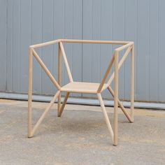 "M3 Chair by Thomas Feichtner -  ""Chair with a seat suspended at the centre of a cubic oak frame."""
