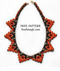 Free pattern for beaded necklace Papaya U need seed beads 11/0 After step 9 continue from step 2