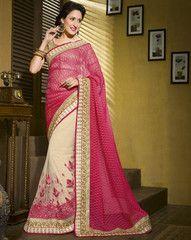 Pink & Off White Color Half Net & Half Jacquard Cotton Designer Wear Sarees : Kshipa Collection YF-28056