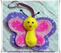Chaveiro feltro borboleta