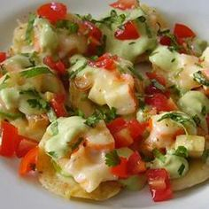 "Shrimp and Jalapeno Nachos | ""Delicious! Much tastier than regular nachos. I forgot to use the avocado-cream sauce but it was great without it. Thanks Chef John for another great recipe!"""