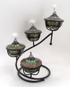 4 Mirrored Mosaic Oil Lamps on Black Metal Tiered Spiral Lamp Stand Exotic Decor