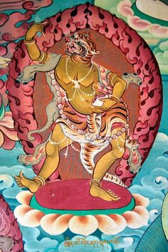 Animal figures in Nyingmapa temple. Tibet Art, Vajrayana Buddhism, Chinese Drawings, Thangka Painting, 17th Century Art, Buddha Art, Tibetan Buddhism, Sacred Art, Indian Art
