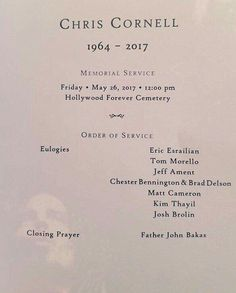 Cornell's Memorial Service Sound Of Music, Music Love, Say Hello To Heaven, Andrew Wood, Jeff Ament, Temple Of The Dog, Buddy Holly, Alice In Chains, Book People