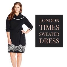 London Times Little Black Sweater Dress w/cowl Stay warm & cozy in this sleek black & ivory sweater dress from London Times! Long sleeves will keep you toasty all day long, and the sophisticated design will carry you from day into night. The detachable cowl collar lets you experiment with a variety of looks for work and play. Sash included. New with tags! This is a ModCloth find that I just never wore.   Perfect for a size 16, and very forgiving fit. London Times Dresses Long Sleeve
