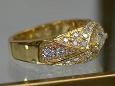 Evil Eye Marquise Diamond Ring 18K Yellow Gold by JDOTCJewelry