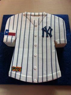 Yankees Jersey. New York Grooms Cake.  Cake. Creme de la Creme Cake company
