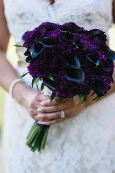 Purple Wedding Flowers Tiffany's bridal bouquet featured eggplant calla lilies, dark purple carnations and deep plum preserved roses. Dark Purple Wedding, Dark Purple Flowers, Purple Wedding Flowers, Red Wedding, Wedding Colors, Black Roses, Eggplant Purple Wedding, Black Dahlia, Gothic Wedding