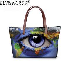 ELVISWORDS Women Casual Handle Bags Ladies 3D Printing Eye shoulder bags Women Top Handle Bags Fashion Tote for Girls Bolsas