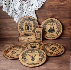 B 13, Coasters, Decorative Plates, Home Decor, Wood, Pear, Decoration Home, Room Decor, Coaster