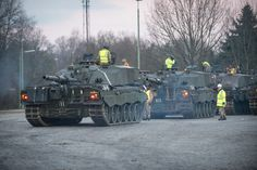 British Army Challenger 2 Main Battle Tanks, operated by soldiers from The Queen's Royal Hussars, heading to the ranges at Hohne, in Germany. Photographer Dominic King; Crown copyright.