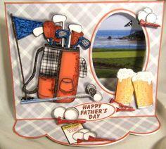 Handmade Greeting Card on The Golf Links 3D Window Easel Card   eBay