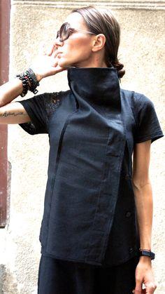 Top de mangas de lino negro / hermoso chaleco / chaleco de