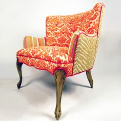 Former NASCAR driver Shawna Robinson has married her passion for furniture with a love of risk-taking in her company Happy Chair. Robinson imagines and creates over-the-top pieces like the Tangerine, a dainty accent chair composed of vintage fabric Robinson found in Tennessee and updated with zebra accents and buttons.