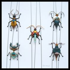 Francoise Guitton. Polymer clay insects.