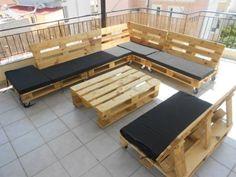 Wooden Pallet L-Shape Sofa Set | Backyard | Pinterest | Wooden ...