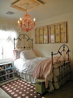 love the rod iron bed frame for D