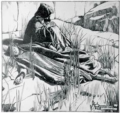 """Byam Shaw - illustrations for """"The Pearl-Maiden"""" by H. Rider Haggard published in The Graphic between July and December 1902, and a selection also in the volume publication in 1903. So exhausted was Miriam that she fell asleep (11 of 26)"""