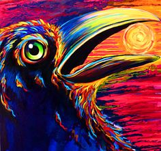 """Raven Call""  Signed and numbered limited edition print on watercolor paper. Image size 8 1/2""x 8 1/2"" $32"