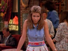 Rachel Green from Friends wearing the cutest denim vest ever! Click here to find out more: http://withlovefromlou.co.uk/2016/08/rachel-green-friends/