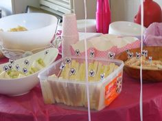 Bonnies party with minnie mouse flags in all sandwiches-cute.