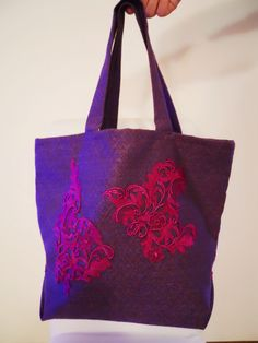 Purple bag with St. Gallen lace by Uzzolo on Etsy
