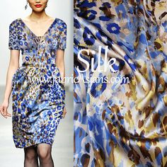 Premium 95% Silk Fabric/ Blue Leopard Fabric by fabricAsiansc.com Online Fabric Store Ship worldwide FREE Sewing Patterns