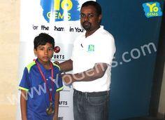 Congratulations YoChamp, Manjeet Choudhary for receiving  award with 13-15,15-12,15-11 in Boys Singles U9 YoGems Badminton Championship series,Noida