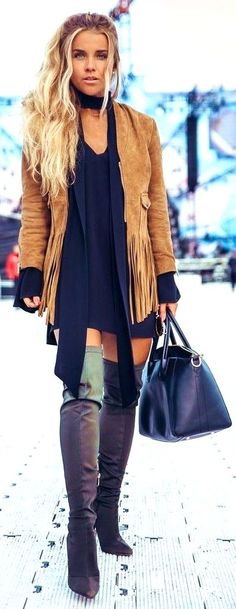 #summer #trending #outfitideas Camel Suede Jacket LBD Olive Overknees - more on http://ift.tt/2rynWxj