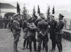 "From left to right: Max Wünsche, Josef ""Sepp"" Dietrich, Heinrich Himmler (back turned), Joachim Pieper and Fritz Witt, 1941, Greece."