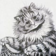 Louis Wain - Cat Portrait Art Print by anthroanimals Louis Wain Cats, Canvas Prints, Art Prints, Portrait Art, Halloween Pumpkins, Cat Art, Owl, Bird, Animals