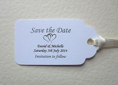 50 Personalised Save The Date Wedding Tags Table Name Favour Gift Label, Cards