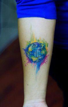 814b486a8 watercolor globe tattoo Unique Tattoos, Small Tattoos, New Tattoos, Tattoos  For Guys,