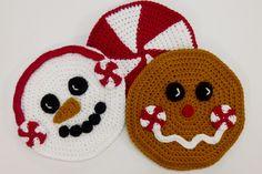 Peppermint Pals Holiday Hot Pad Set crochet pattern by Darleen Hopkins http://crochetbydarleenhopkins.com/2014/12/11/i-like-crochet-holiday-2014/