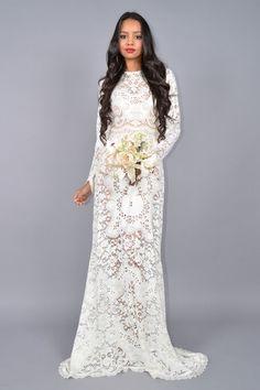 Keri White Back Cut-out Wedding Dress